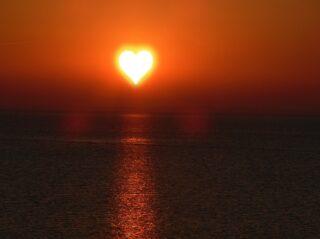 sundown in heart-shape